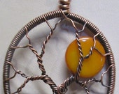 Sunflower Yellow Full Moon Tree of Life, Antiqued Copper Full Moon Tree of Life, Wire Wrapped Tree of Life