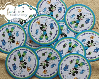 Mickey Mouse Swim Address Seal Stickers