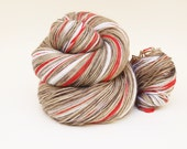 Ready To Ship: Self Striping Fingering Weight Sock Yarn, Wool and Nylon, 20 Color Stripe, Hand Dyed, Sock Monkey