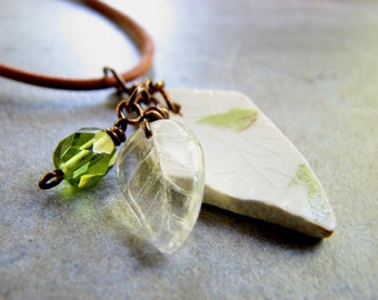 Porcelain Sea Glass Jewelry //  Beach Glass Pendant Necklace, Olive Green and White Leaf Patterned China, Tan Leather Boho Jewelry