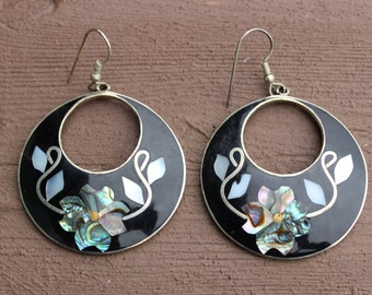 Unique Mexican Sterling Silver Abalone Shell Pierced Dangle Earrings