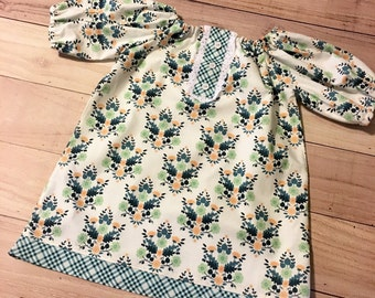girls blue floral dress, girls fall dress, blue and green floral dress,  blue floral fall dress, girls fall dress