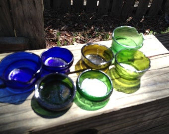 METAPHYSICAL candle holders, chakra candles, spiritual ceremonies, metaphysics, recycled bottle bottoms