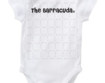 The Barracuda: Baby's Nursing Style Cute Humor Baby Onesie/Bodysuit Inspired By Breastfed Babies Size 3, 6, 12, 18, 24 Months White
