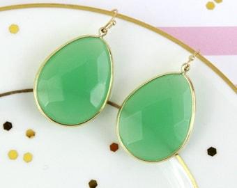 Gold Framed Mint Green Gem Stome Tear Drop Darring, Semi Precious Stone Earrings, Jade Green Earrings, Bridal Earrings, Bridesmaid Earrings
