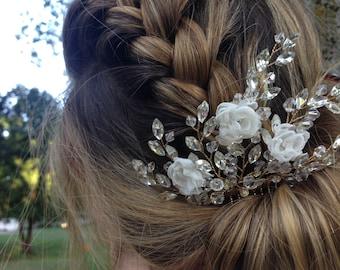 Crystal Hair Comb, Bridal Crystal Headpiece, Wedding Hair Comb, Hair Jewelry, Flower Hair Clip, Wedding Fascinator