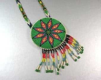 LARGE Native American Beaded Ceremonial Necklace / 9 Point Star Hand Beaded Disk