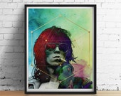 COSMIC KEITH Richards Print, Sacred Geometry Print, Gold Foil Watercolor Galaxy, Rock N Roll Wall Decor, Psychedelic Art Poster Giclee