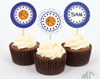 Basketball Printable Digital Party Circles / Cupcake Toppers -- MIrabelle Creations