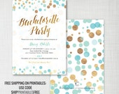 Confetti Bachelorette Party invitations • mint + gold effect • printable or printed • printables ship free: use code SHIPPRINTABLESFREE