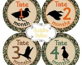 Duck Hunting Baby Month Stickers - Mallard Duck Hunter - Hunting Nursery - Hunter Baby Shower Gift - Monthly Baby Stickers - Hunting Buddy