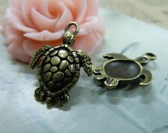 20pcs 16*22mm antique bronze tortoise animal charms pendant C1543
