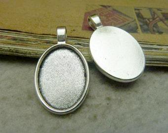 10pcs 25x18mm antique silver cabochon pendant settings C7711