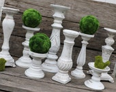 Set of 8 White Candlesticks - Distressed Candlesticks - Table Decor - Centerpieces - White Wedding - Rustic - Shabby Chic - Mantel Decor