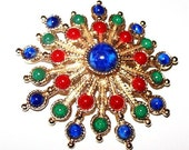 "Sarah Cov Carnival  Brooch Pin Signed Blue Red Green Cabochon Stones Gold Starburst 2.5"" Vintage"