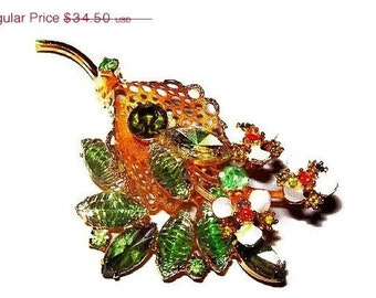 "Statement Leaf Brooch Pin Green Givre & Orange Rhinestones White Enamel Flowers Gold Basket  3"" Vintage"