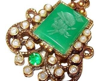 "Art Deco Pendant Green Rhinestones Intaglio Roman Soldier Pearl Accents 2"" Vintage"