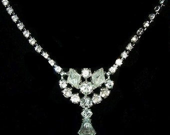 "Rhinestone Bib Necklace Clear Ice Kite Cut Rhinestones Silver Metal 16"" Vintage"