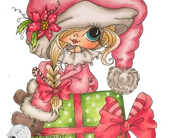 INSTANT DOWNLOAD Digital Digi Stamps Big Eye Big Head Dolls Digi  Img900 Christmas By Sherri Baldy