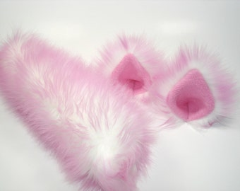 NEW! Pink Cat Ears And Tail- Cat Costume- Harajuku Fashion-Cat Ears- Cat Tail-Halloween-Cosplay-Anime -Fluffy Cat ears -Cat Costume Birthday