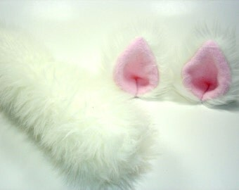 White Cat Ears And Tail- Cat Costume-Cat Ears- Cat Tail-Halloween-Cosplay-Anime-Fluffy Cat Ears-White Cat Costume- White