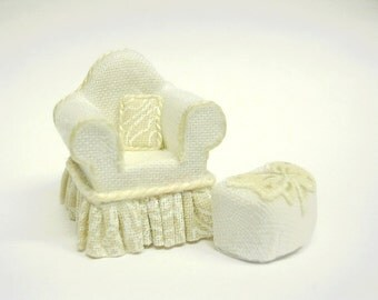 """1/4"""" Scale Neutral Cream Chair & Ottoman"""