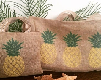 Tropical Pineapple Burlap Beach Tote, Pineapple Print Tote, Burlap Beach Bag, Burlap Beach Tote, Beach Tote Bag, Hawaii Tote Bag, Hawaii Bag