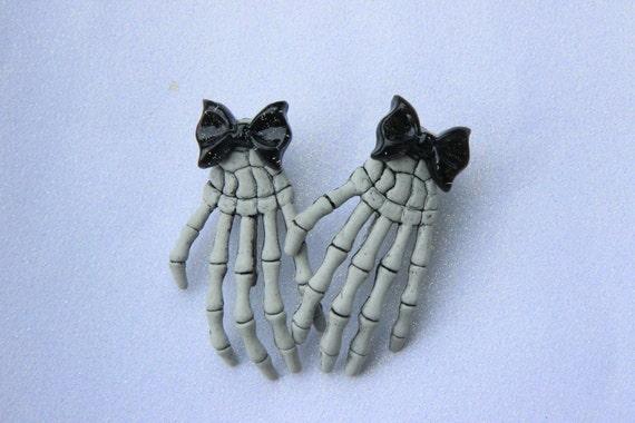 Kawaii Skeleton Hand Hair Clips