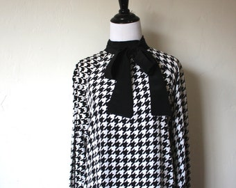 Vintage Yves Saint Laurent Silk Houndstooth Blouse