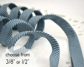 """pinstripes on blue - double fold, bias tape - 3 yards, CHOOSE 3/8"""" or 1/2"""" wide"""
