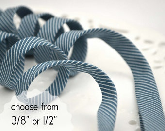 "pinstripes on blue - double fold, bias tape - 3 yards, CHOOSE 3/8"" or 1/2"" wide"