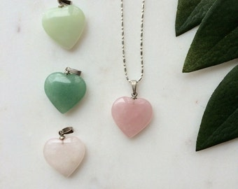 Natural Stone Heart Pendant Necklace / silver plated  chain jewelry / Bless your Little Vintage Heart