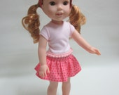 14.5 Inch Doll Wellie Wisher Skirt T-shirt Headband and Shoes
