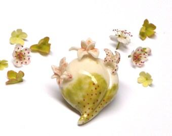Porcelain flower brooch