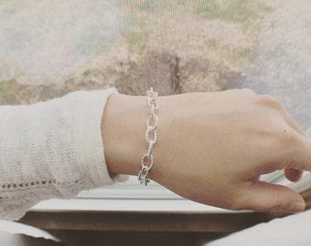 Twist Link Bracelet, Chain Bracelet, Twisted Oval Bracelet, Sterling Silver Oval Bracelet, Twisted Oval Link Bracelet, Everyday Jewelry