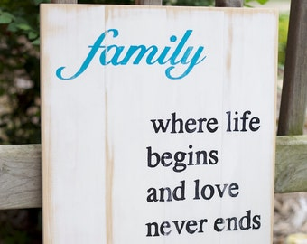 Family - Where life begins and love never ends/family sign/