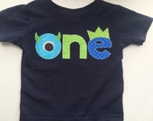Monster Birthday Shirt First Birthday navy aqua Boys Shirt or Onesie gift photo prop funny