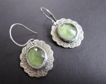 Prehnite Earrings, Stamped Earrings,Green Earrings, Handmade Earrings, One of a Kind Earrings, Metalsmith, Etsymetal