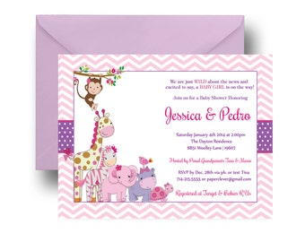 Pink Jungle Baby Shower Invitation Girls -- Modern -- Adorable Safari -- Chevron & Purple Dot -- Baby Girl Sprinkle -- Printable or Printing