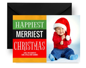 Happiest Holiday Photo Card - Merriest Xmas Cards - Bold Picture Cards - Family Card - Seasons Greeting - Portrait Card Christmas Printed