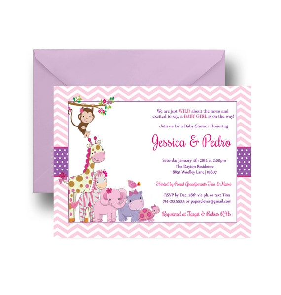 pink jungle baby shower invitation girls modern adorable safari