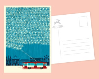 Winter Trolleybus Postcard or Postcard Set - Inspired by Lithuania Series