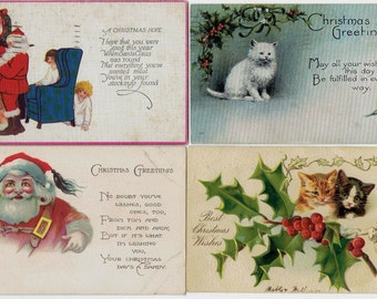 4 Vintage Christmas Postcards Red Suita Santa Claus Merry Christmas Kittens