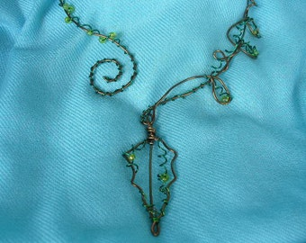 Coiled Wire Vine Necklace and Earrings with Beads