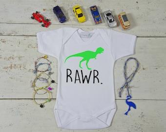 Dinosaur Onesie - Rawr Baby - Hand Painted Onesie - Short/Long Sleeve - Custom Onesies - Newborn onesie - Baby Bodysuit - Newborn Gift