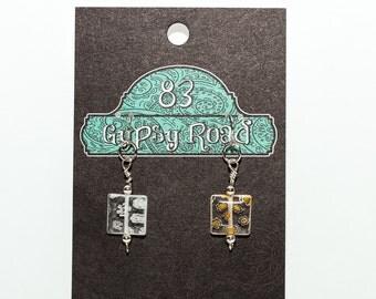 E096K - Millefiori glass square earrings