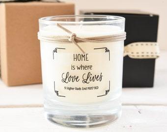 Personalised Scented Home Candle In Glass Pot, New Home Gift, Housewarming Gift, First Home Gift, Personalised Gift, Scented Candle,