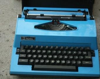 Royal Typewriter, Vintage Typewriter, Wedding Guestbook Decor,  Industrial Decor, Electric Blue, Electrical Typewriter