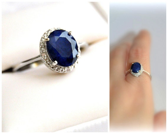 Sale royal natural sapphire halo engagement ring blue gem for Orthodox wedding rings for sale