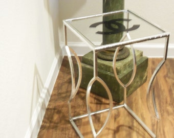 NEW!!!  French Inspired Hollywood Glam Shimmery Silver Metal and Glass Accent End Table Clear Rhinestone Border